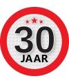 Ronde 30 jaar sticker van 9 cm