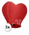 3 hartvormige wensballonnen rood 100 cm