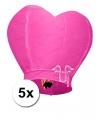 5 hartvormige wensballonnen roze 100 cm