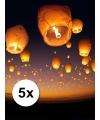 5 x witte wensballon XL 50 x 100 cm