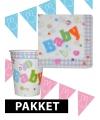 Babyshower versiering pakket roze/blauw