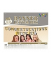 Banner letter box goud/zilver