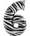 Zebra ballon cijfer 6