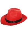 Gangster hoed rood met zwarte band