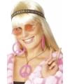 Roze hippie peace sieraden set