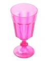 Plastic wijnglas roze 15 cm