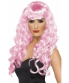 Roze damespruiken lang haar