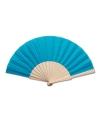 Turquoise blauwe waaier van hout