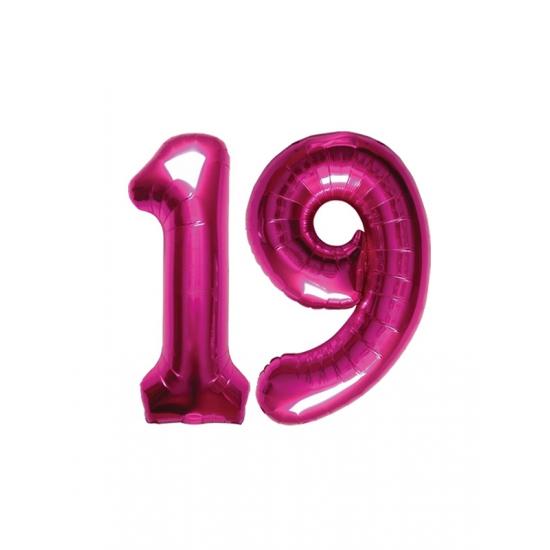 19 jaar Verjaardag ballonnen 19 jaar roze   Fun en Feest 19 jaar